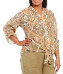 Plus Size Patchwork Print Silky Slub Roll-Tab Sleeve Button Down Tie Front Top