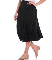 Plus Size Fine Tencel Jersey Flare Midi Skirt