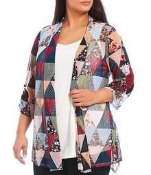 Plus Size Patchwork Print Shawl Collar Cinched Sleeve Onion Skin Open Front Jacket