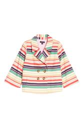 X Atlantic-Pacific Stripe Short Trench Jacket