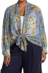 Long Sleeve Floral Print Tie Blouse