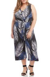 Palm Print Tie Front Wide Leg Crop Jumpsuit
