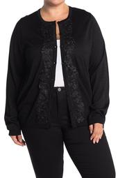Metallic Lace Button Front Cardigan