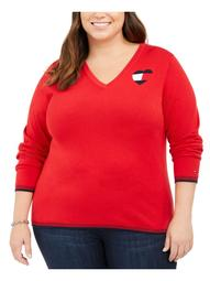 TOMMY HILFIGER Womens Red Printed Long Sleeve V Neck Sweater  Size 0X