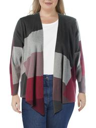 Nic + Zoe Womens Plus Knit Colorblock Cardigan Sweater