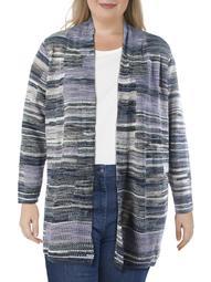 Nic + Zoe Womens Plus Wool Blend Open Front Cardigan Sweater