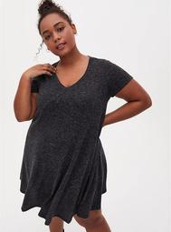 Super Soft Plush Grey V-neck Trapeze Dress