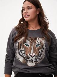 Grey Tiger Raglan Crew Sweatshirt