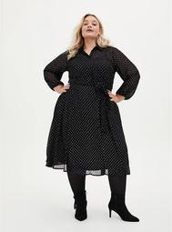 Black Shimmer Clip Dot Shirt Dress