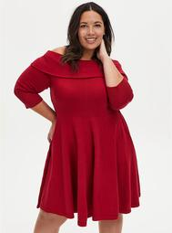 Red Off The Shoulder Sweater Dress
