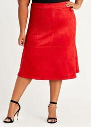 Faux Suede A Line Skirt