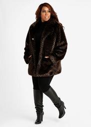 Chevron Faux Fur Coat