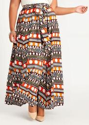 Belted Dot High Waist Maxi Skirt