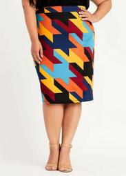 Houndstooth Scuba Pencil Skirt
