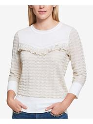 TOMMY HILFIGER Womens Beige Fringed Long Sleeve Crew Neck Sweater  Size L