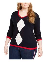 TOMMY HILFIGER Womens Blue Argyle Long Sleeve V Neck T-Shirt Sweater  Size 0X