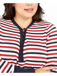 TOMMY HILFIGER Womens White Glitter Striped Long Sleeve V Neck Sweater  Size 1X