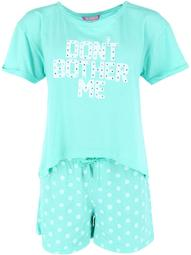 Love Loungewear  Don't Bother Me 2-Piece Pajama Short Set (Women's Plus Size)