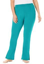 Dreams & Co. Women's Plus Size Dreams & Co. Side Slit Wide Leg Pant Pajama Bottoms