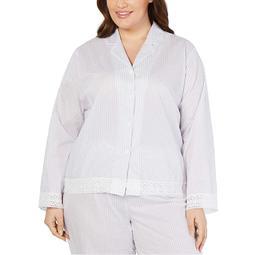 Charter Club Women Plus Striped Notch Collar Pajama Top Sleepwear Size 1X RV $36