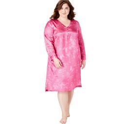 Amoureuse Women's Plus Size Amoureuse Satin Henley Sleep Gown