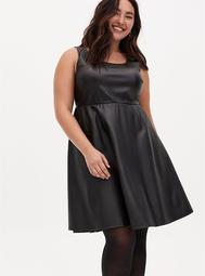 Black Faux Leather Sleeveless Skater Dress