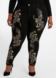 3D Floral Front Skinny Jeans