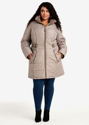 Faux Fur Lined Hooded Belted Coat