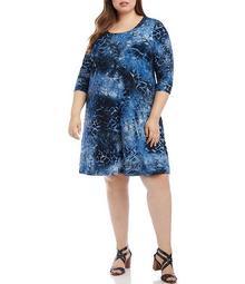 Plus Size Tie Dye Geo Print Scoop Neck 3/4 Sleeve Shift Dress