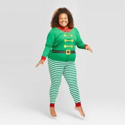 Women's Plus Size Holiday Elf Matching Family Pajama Set - Wondershop™ Green