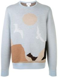 long sleeve landscape knitted jumper