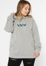 Plus Gray Butterfly Embroidered Boyfriend Hoodie