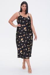 Plus Size Floral Slip Midi Dress
