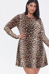 Plus Size Leopard Skater Dress