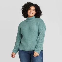 Women's Plus Size Mock Turtleneck Pullover Sweater - Universal Thread™ Teal