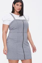 Plus Size Zippered Pinafore Dress