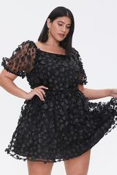 Plus Size Embellished Floral Fit & Flare Dress