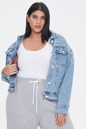 Plus Size Faux Pearl Denim Jacket