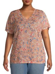 Erika Women's Plus Size Ariella Floral V-Neck Short Sleeve Tunic Top
