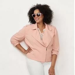 Plus Size LC Lauren Conrad Linen-Blend Moto Jacket