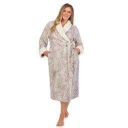 Plus Size Stan Herman Printed Plush Wrap Robe