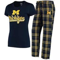 Women's Concepts Sport Navy/Gold Michigan Wolverines Ethos T-Shirt & Pants Sleep Set