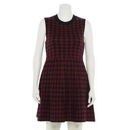 Juniors' Plus Size Rewind Mockneck Fit & Flare Sweater Dress