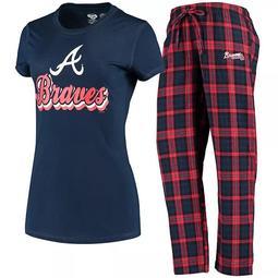 Women's Concepts Sport Navy Atlanta Braves Ethos T-Shirt & Pants Set