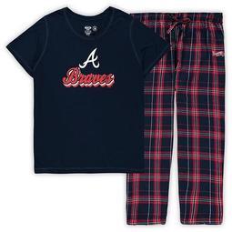 Women's Concepts Sport Navy Atlanta Braves Plus Size T-Shirt and Flannel Pants Sleep Set