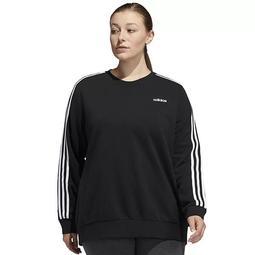 Plus Size adidas 3-Stripe Fleece Crewneck Sweatshirt