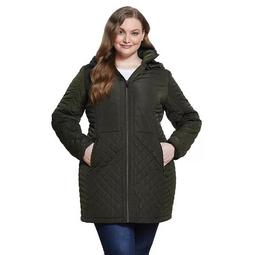 Plus Size Gallery Plush Hood Quilted Coat