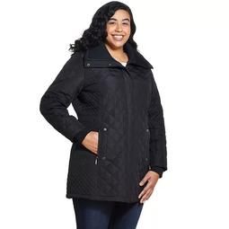 Plus Size Weathercast Hooded Quilted Water-Resistant Jacket