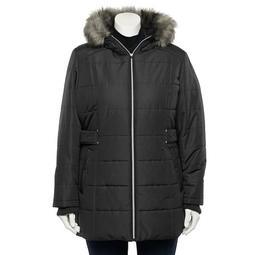Plus Size d.e.t.a.i.l.s Faux-Fur Hood Puffer Jacket