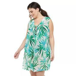 Plus Size Portocruz Palm Print Lace-Up Cover Up Dress